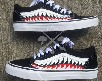 Bape Shark Teeth Black A Bathing Ape Old Skool Custom Vans Classic Sneaker