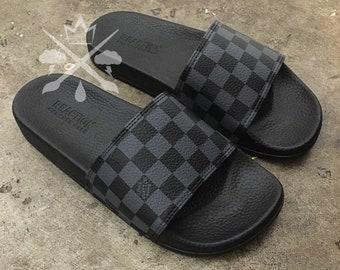 Custom Checkerboard Luxury Designer Checkered Slides Classic Black and Gray Monogram Sandals Fashion Flip Flops