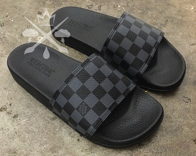 Custom Checkerboard Luxury Designer Checkered Slides Classic Black and Gray Monogram Sandals Fashion Flip Flops