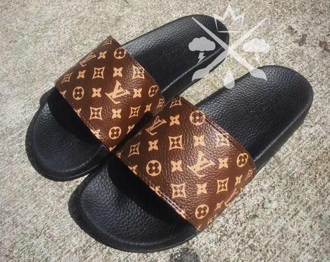 Custom Luxury Designer Slides Classic Brown Monogram Sandals Fashion Flip Flops