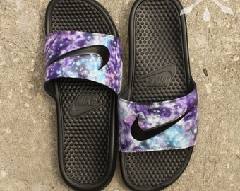 429153d45d2e4f Nike Custom Galaxy Nebula Benassi Swoosh Slide Sandals Flip flops Men s