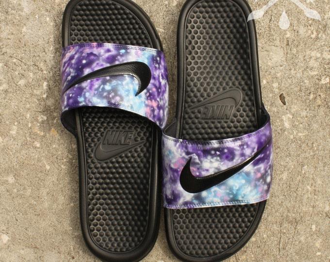 Nike Custom Galaxy Nebula Benassi Swoosh Slide Sandals Flip flops Men's