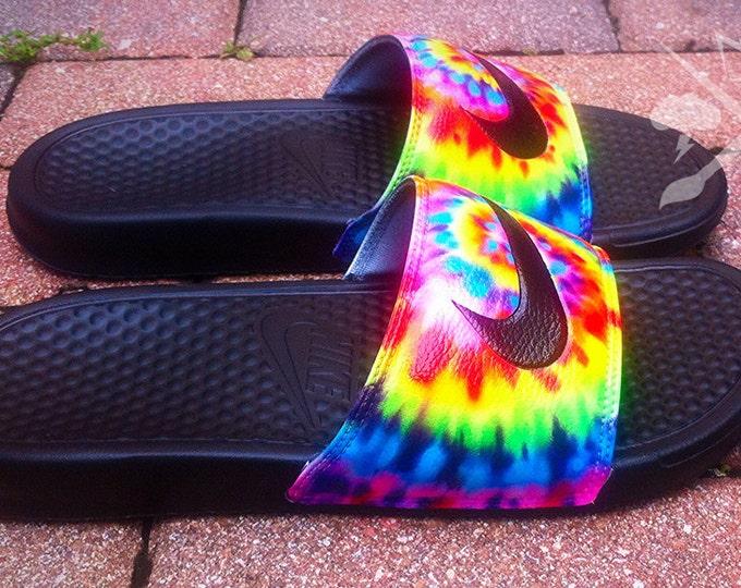 169b0b721faa Nike Custom Trippy Tie Dye Psychedelic Hippy Swirl Benassi Swoosh Slides  Sandals Flip flops