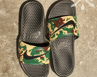 b5b703e62445 Nike Custom Military Camouflage Benassi Swoosh Camo Slide Sandals Flip  flops Men s