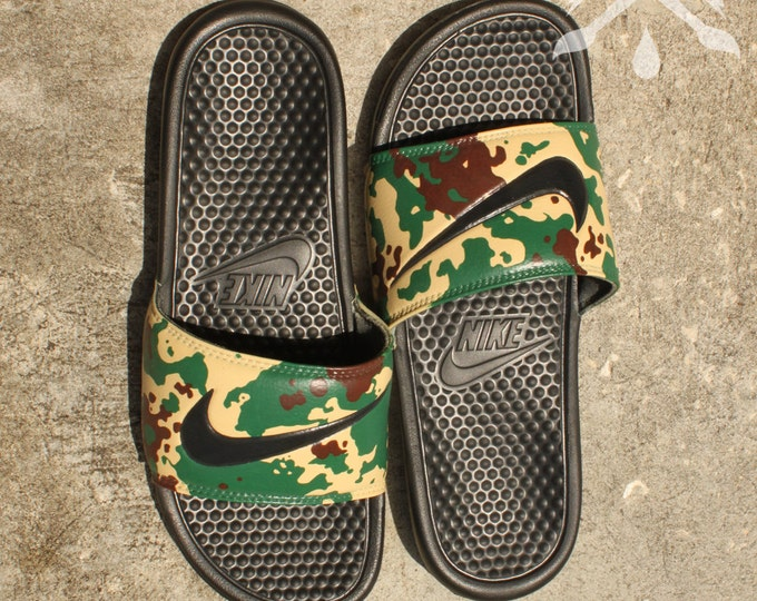 880d667ad03f Nike Custom Military Camouflage Benassi Swoosh Camo Slide Sandals Flip  flops Men s