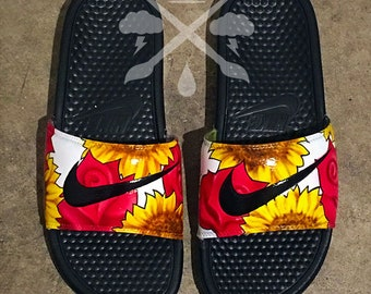 Nike Custom Rose Sunflower Floral Benassi Swoosh Slide Sandals Flip flops Men's