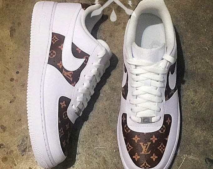Nike Louis Vuitton LV Air Force 1 One Low top Luxury Designer Custom Men's White Sneaker