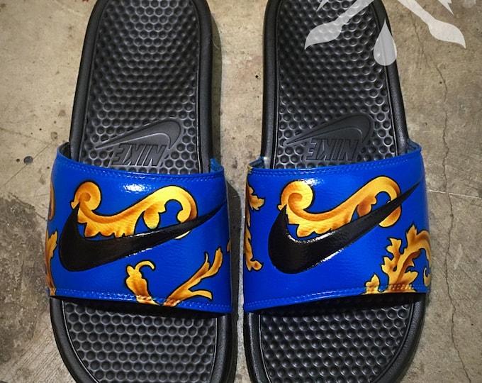 Nike Blue and Gold Custom Slides Foamposite Benassi Swoosh Sandals Flip flops Men's