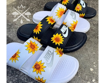 Sunflower Sandals | Womens Nike White Black Slides | Benassi Duo Ultra Slide | Summer Sandals | Women's Floral Sunflowers Spring Shoes