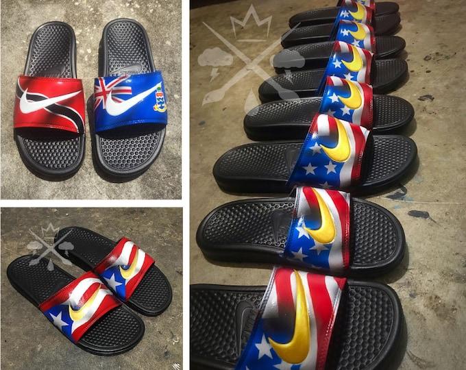 CHOOSE ANY FLAG Nike Custom Benassi Swoosh Slide Sandals Flip flops Men's