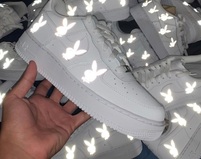Reflective Playboy Nike Air Force 1 | Custom Air Force 1s One | 3m Reflective playboy Sneaker | Custom AF1 | Reflective Shoes