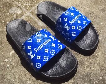 Custom Luxury Designer Slides Classic Blue White Monogram Sandals Fashion Flip Flops