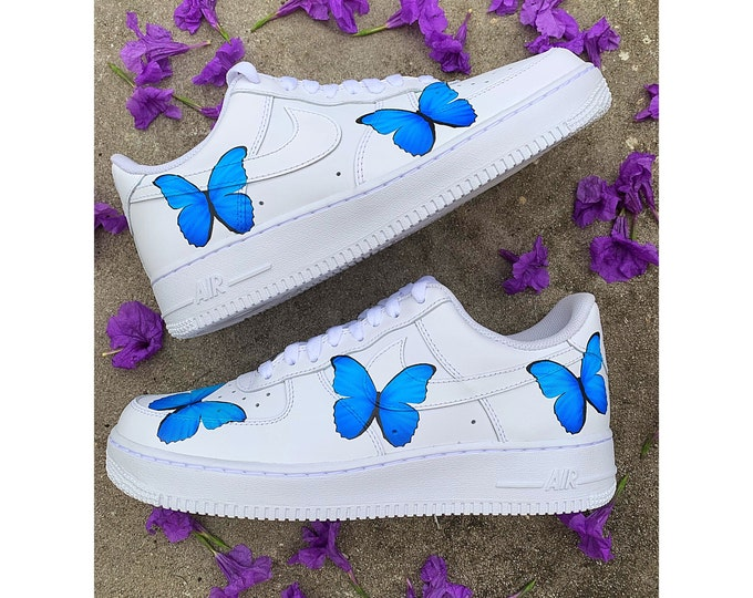 Blue Butterfly Air Force 1 | Nike Butterfly Sneakers | Custom Air Force One | Custom Shoes | Custom Sneakers | Butterfly Shoes |