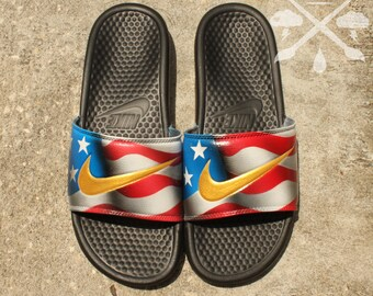 Nike Custom American Flag United States Benassi Swoosh Slide Sandals Flip flops Men's