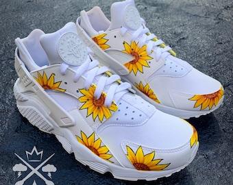 Sunflower Huaraches   Nike Flower Sneakers   Custom Huaraches   Custom Shoes   Custom Sneakers   Floral Shoes   Sunflower
