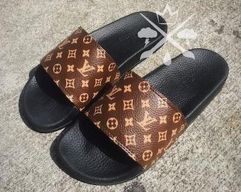 bb7cfbe95c81e Louis Vuitton Luxury Designer LV Custom Slides Sandals Flip Flops
