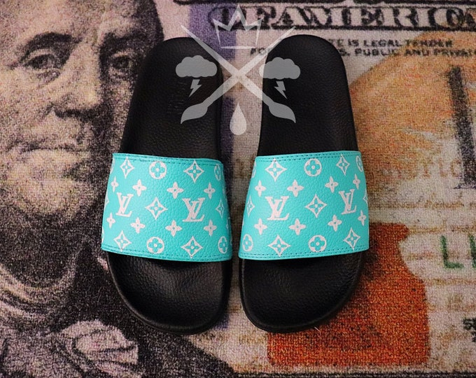 Gift Box Blue Mint Tiff Custom Luxury Designer Slides Classic Monogram Sandals Fashion Flip Flops