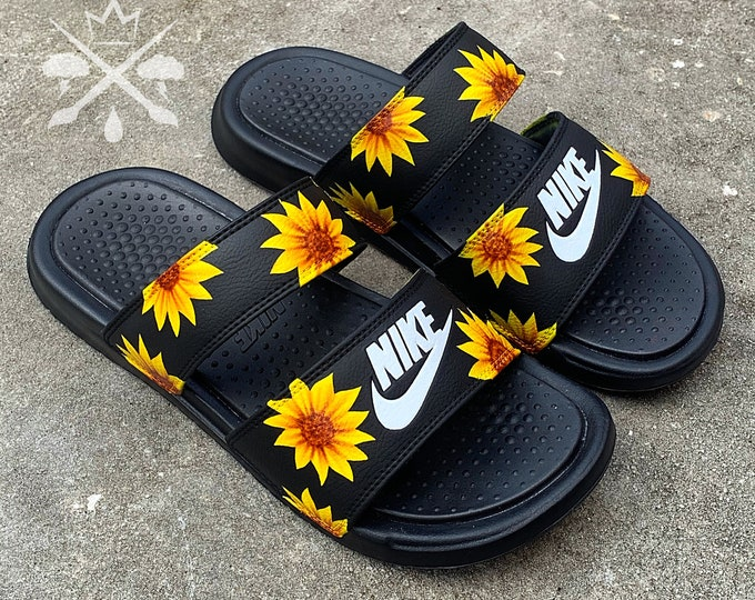 Sunflower Sandals | Womens Nike Black Slides | Benassi Duo Ultra Slide | Summer Sandals | Women's Floral Sunflowers Spring Shoes