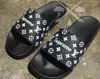 Black Louis Vuitton Luxury Designer LV Custom Slides Sandals Flip Flops