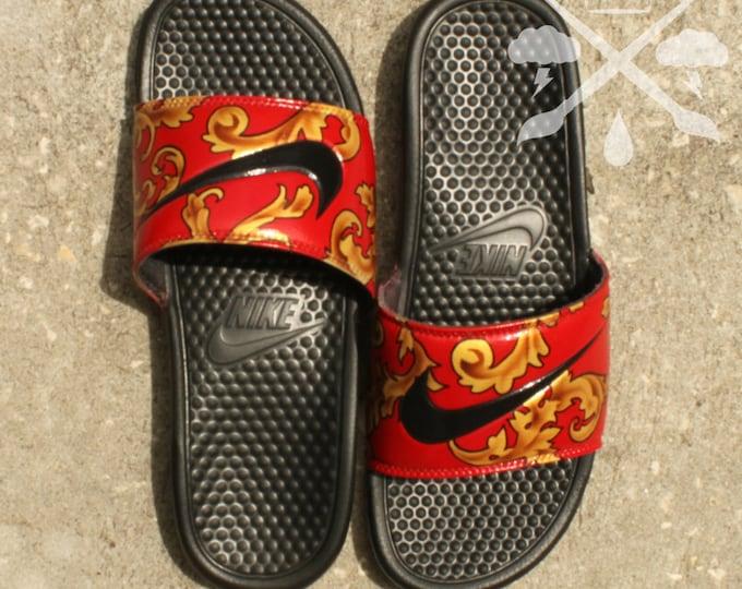505fb9558344 Nike Custom Red Foamposite Filagree Benassi Swoosh Slide Sandals Flip flops  Men s