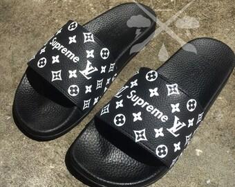 Custom Luxury Designer Slides Classic Black White Monogram Sandals Fashion Flip Flops