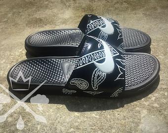 Nike Black Bandana Custom Slides Benassi Swoosh Sandals Flip flops Men's