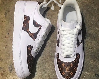 info for 33b61 af267 Custom White Nike Air Force 1 One Low Top Classic Brown Monogram Designer  Luxury Sneaker