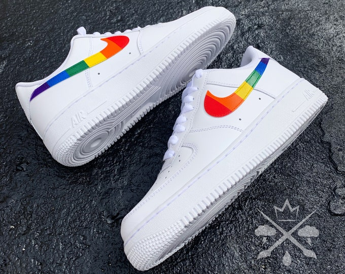 Rainbow Air Force 1 | Nike Rainbow Sneakers | Custom Air Force One | Custom Shoes | Custom Sneakers