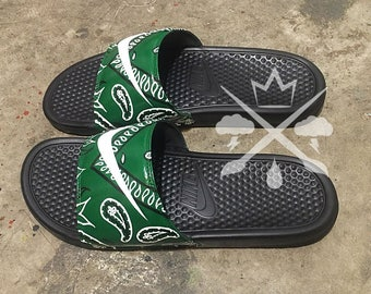 reputable site 72a9d 22296 Nike Custom Green Bandana Benassi Swoosh Slide Sandals Flip flops Men s