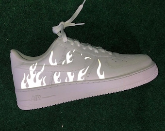Reflective Flames Nike Air Force 1 | Custom Air Force 1s One | 3m Reflective Fire Sneaker | Custom AF1 | Reflective Shoes