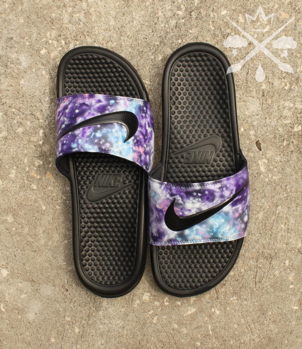 e0a1122994dd Nike Custom Galaxy Nebula Benassi Swoosh Slide Sandals Flip flops Men s.  gallery photo ...