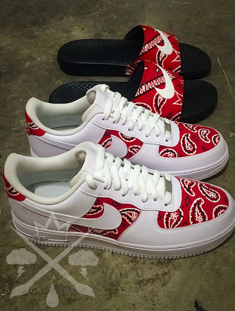 b316bfcd7f4 Nike Air Force One 1 Low Custom Red Bandana Men's White Sneaker Shoe