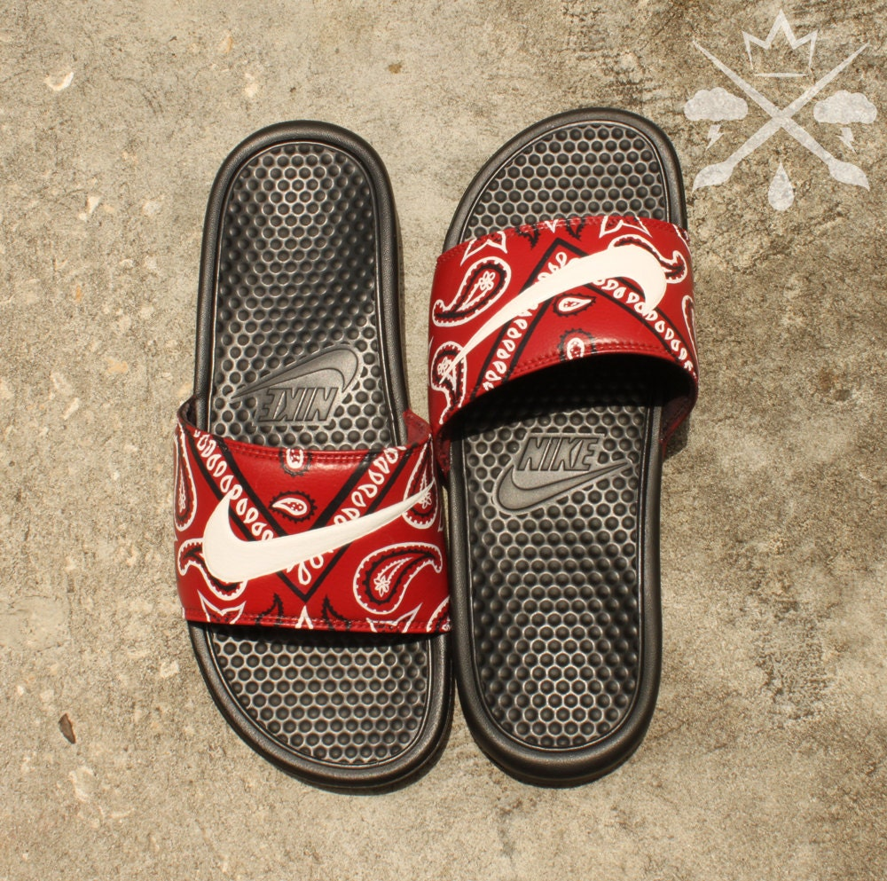 958d096c1 Nike Custom Red Bandana Benassi Swoosh Slide Sandals Flip flops Men s.  gallery photo gallery photo ...