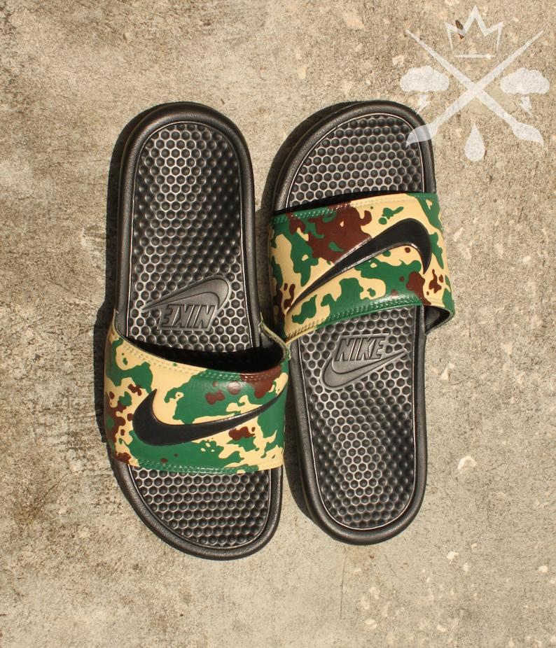 ffb956674f6a Nike Custom Military Camouflage Benassi Swoosh Camo Slide