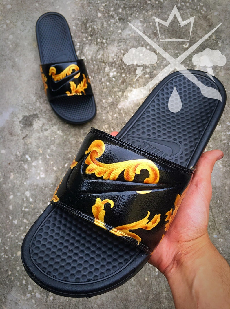 16d9540356c6 Nike Custom Black Supreme Benassi Swoosh Slide Sandals Flip