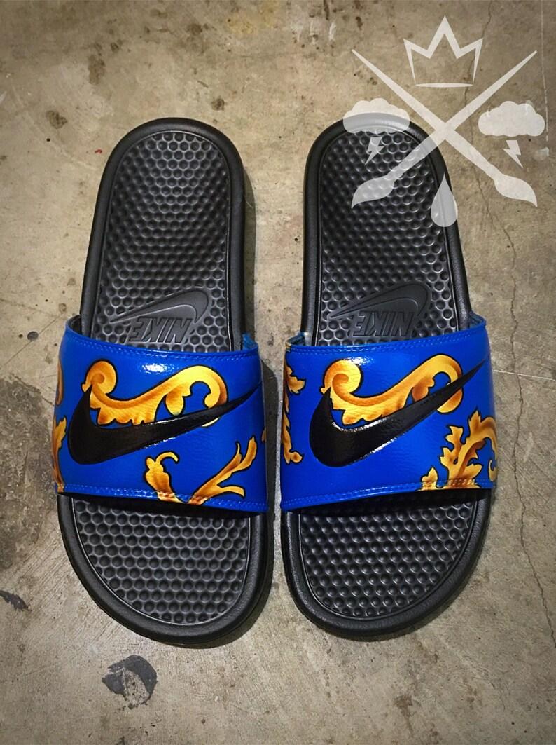 52bd1190d40ba5 Nike Custom Blue Supreme Foamposite Benassi Swoosh Slide