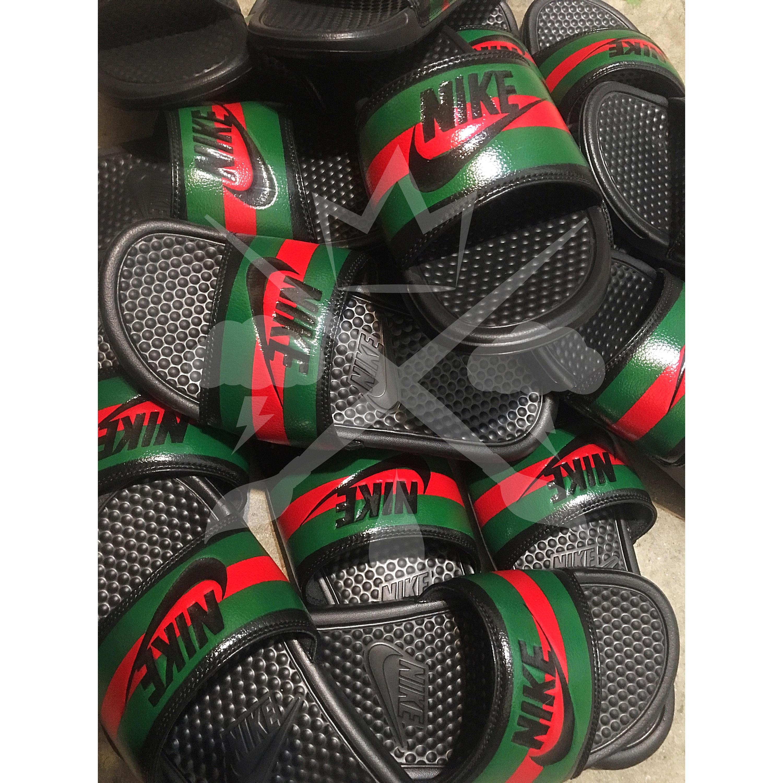 11320da990e0c9 Nike Custom Benassi Swoosh Slides Sandals Flip flops. gallery photo