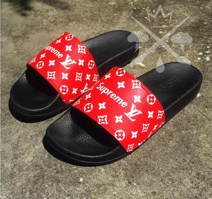 Red Supreme Louis Vuitton Luxury Designer Custom Slides Sandals Flip Flops.  gallery photo gallery photo gallery photo f7065ddee