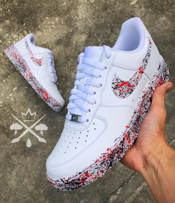 Splatter Air Force 1 Nike Red Black Sneakers Custom Air Etsy