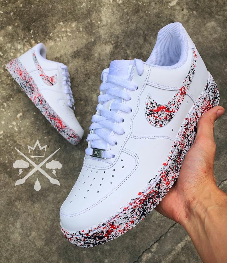 Nike Red Black Sneakers Custom Air