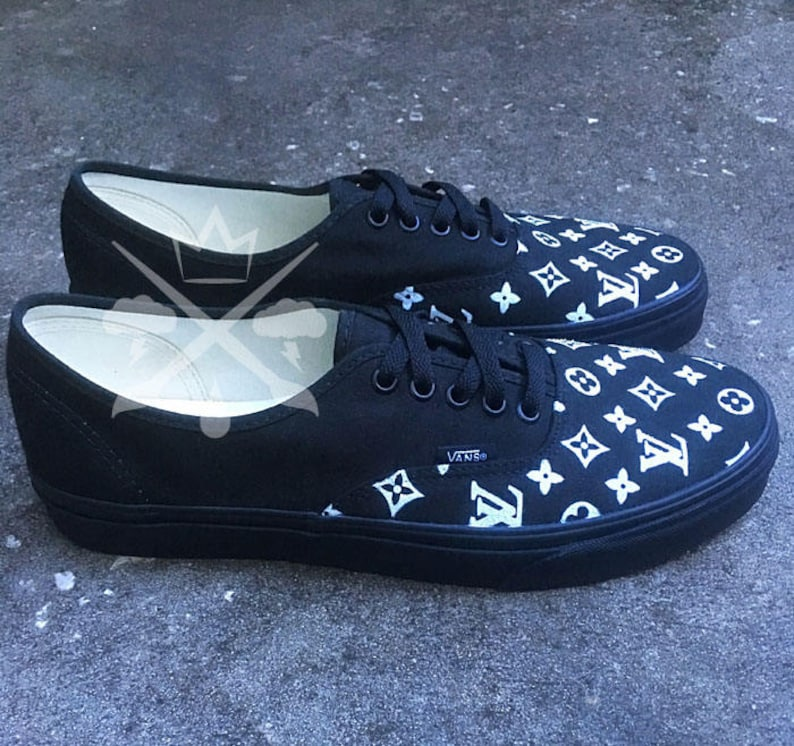 9c4ad53c65c Black Louis Vuitton Luxury Designer Brand Custom Vans