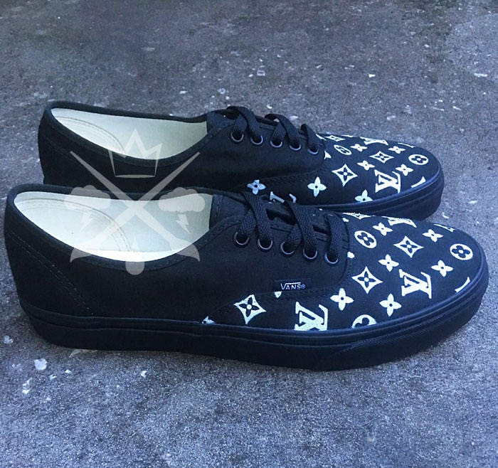 Black Louis Vuitton Luxury Designer Brand Custom Vans Authentic Core  Classics Shoe. gallery photo ... 9de2c9932