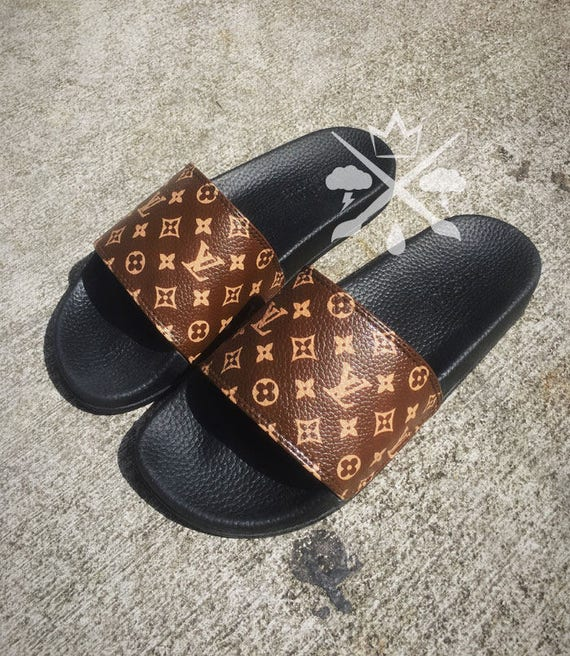 3651d643e4f447 Louis Vuitton Luxury Designer LV Custom Slides Sandals Flip