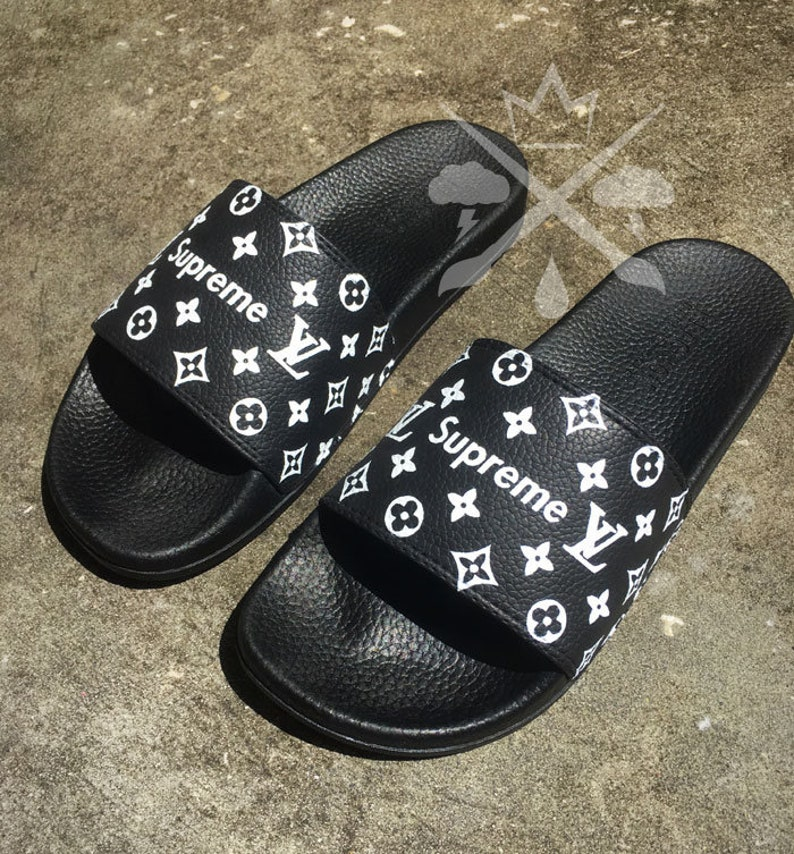 41f3efb2a76f86 Black Louis Vuitton Luxury Designer LV Custom Slides Sandals