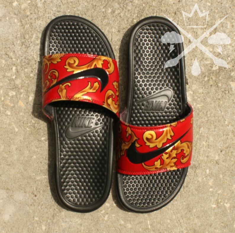 online retailer 5c721 82bc3 Nike Custom Red Foamposite Filagree Benassi Swoosh Slide   Etsy