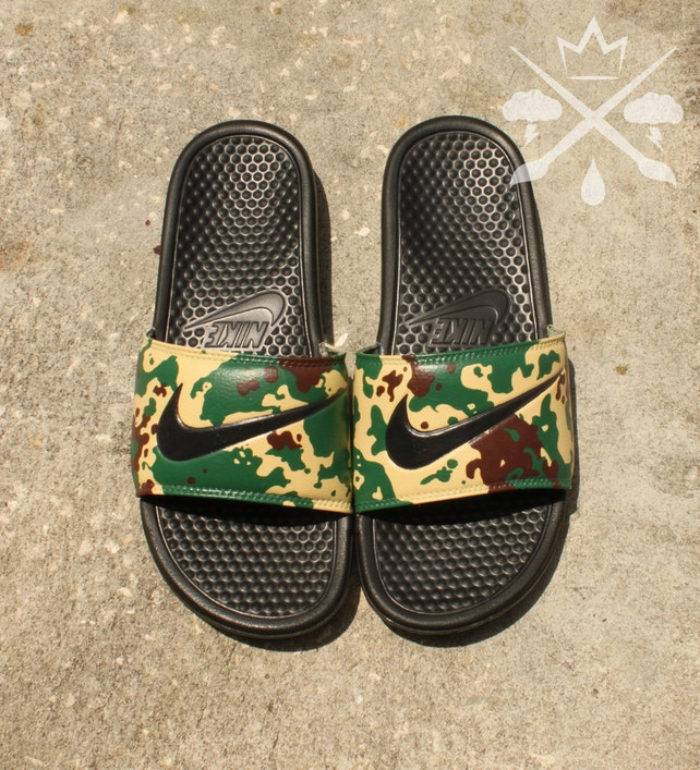 e4eb72f28 ... where can i buy nike custom military camouflage benassi swoosh camo slide  sandals flip flops mens
