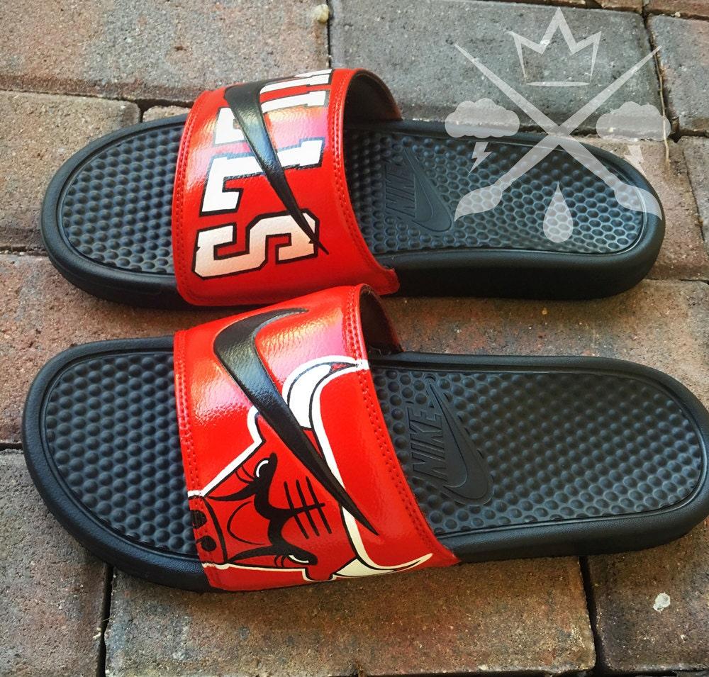 8a395fb68b4 Nike Chicago Custom Slides Benassi Swoosh Sandals Flip flops Mens Womens  Kids. gallery photo ...