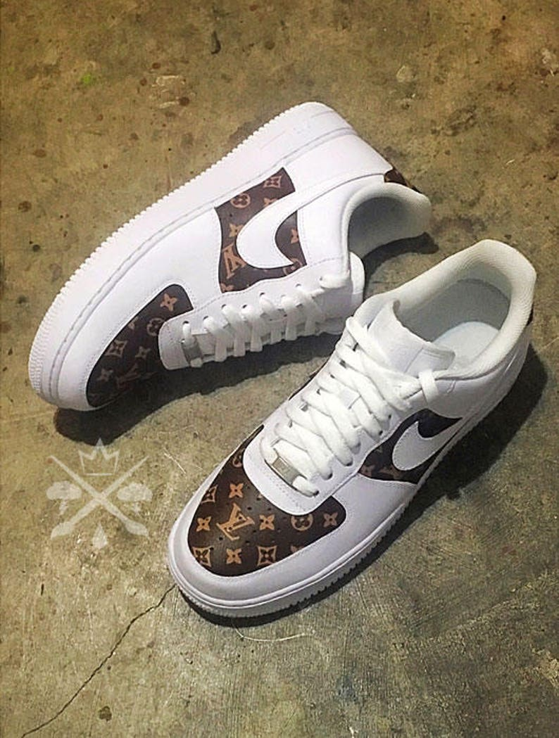 new products ac4fa 11eb6 Nike Louis Vuitton LV Air Force 1 één laag top luxe Designer