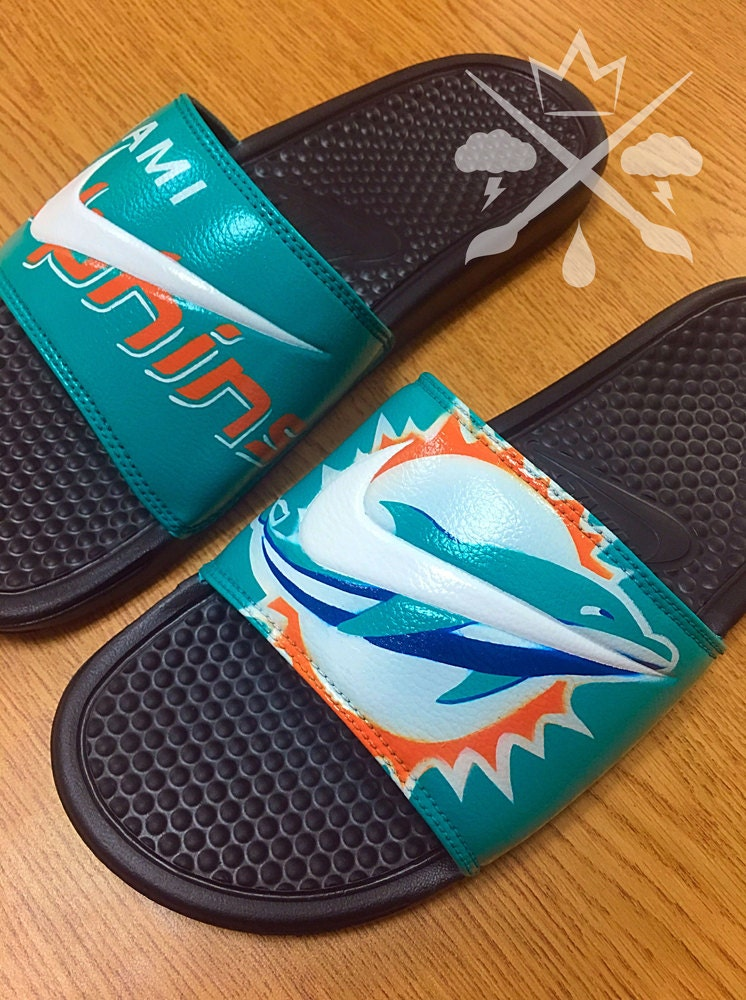 a3626804aefd Nike Custom Miami Dolphins Football Benassi Swoosh Slide Sandals Flip flops  Mens Womens Kids. gallery photo ...