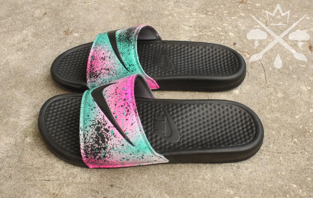 finest selection a24a2 1f5de Nike Custom LeBron 8 Miami Nights Benassi Swoosh Slide Sandals Flip flops  Men's